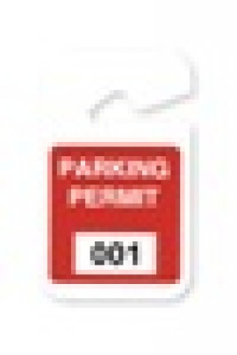 "Plastic Parking Permit, 3 X 5"" Non-expiring Hangtag - Seq # 001-100 - Red (100/Pkg)"