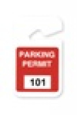 "Plastic Parking Permit, 3 X 5"" Non-expiring Hangtag - Seq # 101-200 - Red (100/Pkg)"