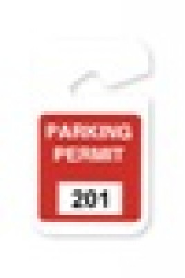 "Plastic Parking Permit, 3 X 5"" Non-expiring Hangtag - Seq # 201-300 - Red (100/Pkg)"