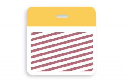 Thermal-printable TIMEbadge Clip-on BACKpart - Half Day / One-Day Yellow Bar (pms 129) W/ Slot Hole (1000/Pkg)