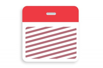 Thermal-printable TIMEbadge Clip-on BACKpart - Half Day / One-Day Red Bar (pms 185) W/ Slot Hole (1000/Pkg)