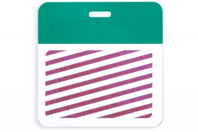Thermal-printable TIMEbadge Clip-on BACKpart - Half Day / One-Day Pantone Green Bar W/ Slot Hole (1000/Pkg)