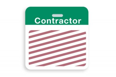 "Thermal-printable TIMEbadge Clip-on BACKpart - Half Day / One-Day Green ""contractor"" Bar W/ Slot Hole (1000/Pkg)"