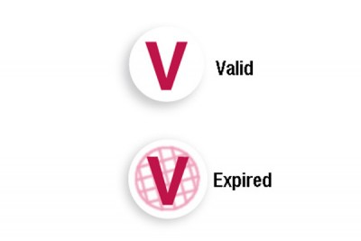 "Red ""V"" Expiring TIMEspot Frontpart Indicator - One-Day Expiration (1000/Pkg)"