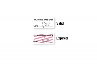 "Self-expiring ""VALID THIS DATE ONLY"" Half-day TIMEtoken Indicators (1000/Pkg)"