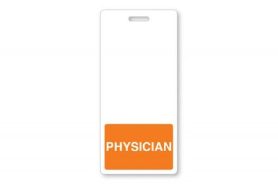 Orange Physician Vertical Badge Buddies (25/Box)