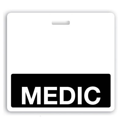 "Black ""Medic"" Horizontal Badge Buddies (25/Box)"