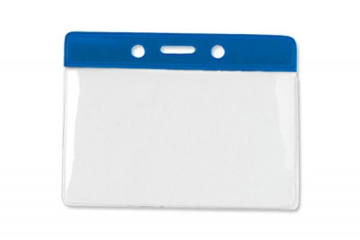 Horizontal Badge Holder w/ Blue Color Bar Data/Credit Card Size (100/Box)