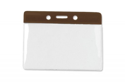 Horizontal Badge Holder w/ Brown Color Bar, Data/Credit Card Size (1000/Box)
