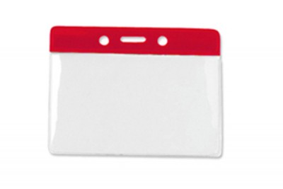 Horizontal Badge Holder w/ Red Color Bar Data/Credit Card Size (100/Box)