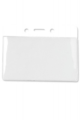 Horizontal Badge Holder w/ White Color Bar, Data/Credit Card Size (100/Box)