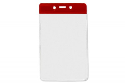 Vertical Badge Holder w/ Red Color Bar Data/Credit Card Size (100/Box)