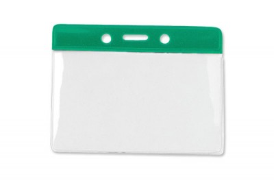 Horizontal Badge Holder w/ Green Color Bar- Gov't/Military Size (100/Box)
