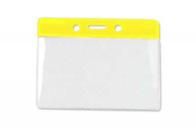 Horizontal Badge Holder w/ Yellow Color Bar- Gov't/Military Size (100/Box)