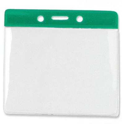 Horizontal Badge Holder w/ Green Color Bar Extra Large (100/Box)