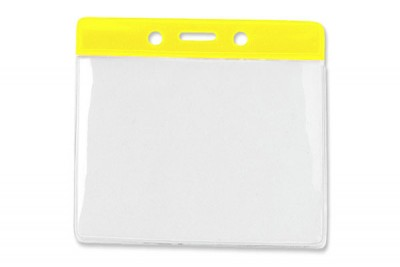 Horizontal Badge Holder w/ Yellow Color Bar Extra Large (100/Box)