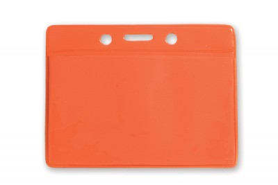 Horizontal Badge Holder w/ Orange Back- Data/Credit Card Size (100/Box)
