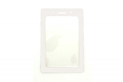 Vertical Badge Holder w/ White Color Frame- Credit Card Size (100/Box)