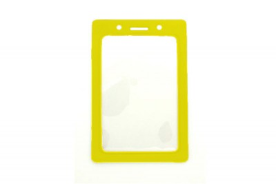 Vertical Badge Holder w/ Yellow Color Frame- Credit Card Size (100/Box)