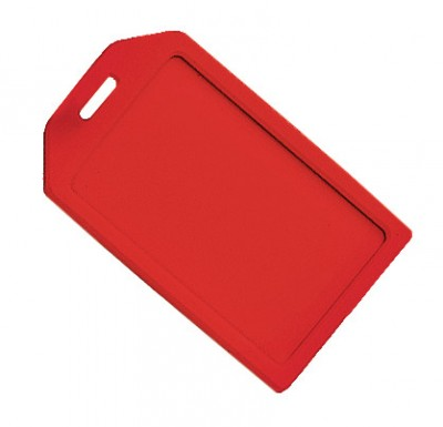 Red Rigid Plastic Luggage Tag Holder (100/Pkg)