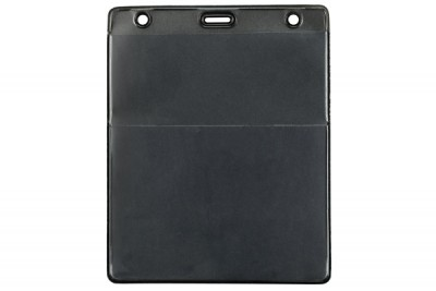 Black Vertical Event Vinyl Credential Wallet w/ Slot & Chain Holes (100/Box)