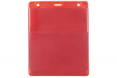 Red Vertical Event Vinyl Credential Wallet w/ Slot & Chain Holes (100/Box)