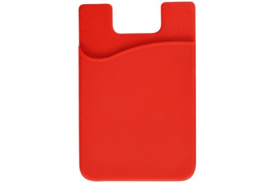 Red Silicone Cell Phone Wallet (100/Box)