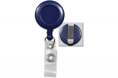 Blue Badge Reel w/ Reinforced Vinyl Strap & Belt Clip (25/Pkg)