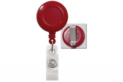 Red Badge Reel w/ Reinforced Vinyl Strap & Belt Clip (25/Pkg)