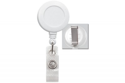 White Badge Reel w/ Reinforced Vinyl Strap & Belt Clip (25/Pkg)