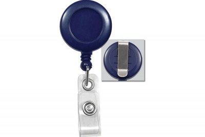 Blue Badge Reel w/ Clear Vinyl Strap & Belt Clip (25/Pkg)
