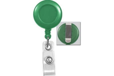 Green Badge Reel w/ Clear Vinyl Strap & Belt Clip (25/Pkg)