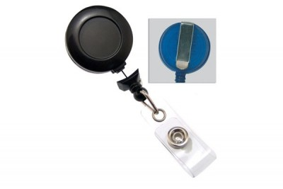 Black No-Twist Badge Reel w/ Clear Vinyl Strap & Belt Clip (25/Pkg)