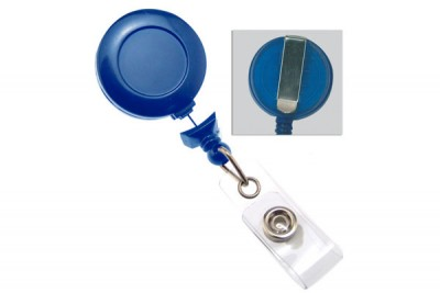 Navy Blue No-Twist Badge Reel w/ Clear Vinyl Strap & Belt Clip (25/Pkg)