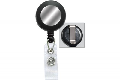 Black Badge Reel w/ Silver Sticker, Reinforced Vinyl Strap & Belt Clip (25/Pkg)