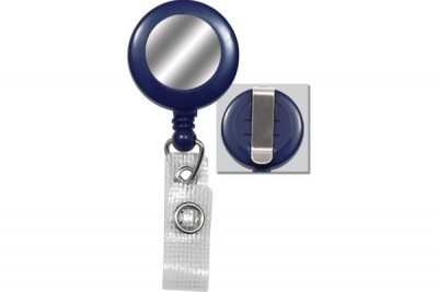Blue Badge Reel w/ Silver Sticker Reinforced Vinyl Strap & Belt Clip (25/Pkg)
