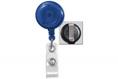 Translucent Blue Badge Reel w/ Vinyl Strap & Slide Type Belt Clip (25/Pkg)