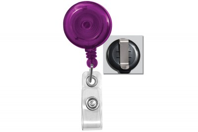 Translucent Purple Badge Reel w/ Vinyl Strap & Slide Type Belt Clip (25/Pkg)