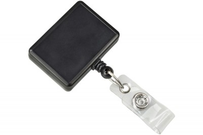 Black Rectangle Badge Reel (25/Pkg)