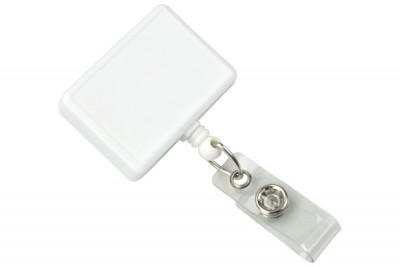 White Rectangle Badge Reel (25/Pkg)
