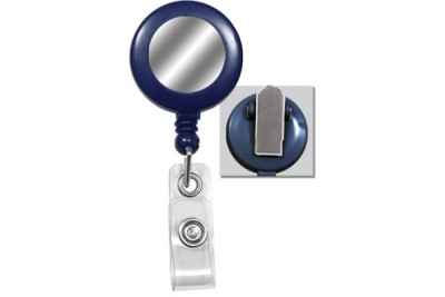 Blue Badge Reel w/ White Sticker, Clear Vinyl Strap & Spring Clip (25/Pkg)