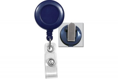 Blue Badge Reel w/ Clear Vinyl Strap & Spring Clip (25/Pkg)