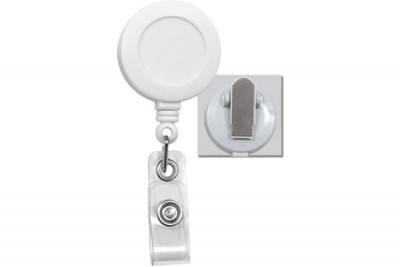 White Badge Reel w/ Clear Vinyl Strap & Spring Clip (25/Pkg)