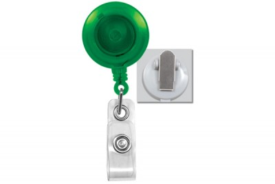 Translucent Green Badge Reel w/ Clear Vinyl Strap & Spring Clip (25/Pkg)