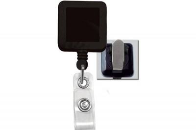 Black Badge Reel w/ Clear Vinyl Strap & Spring Clip (25/Pkg)