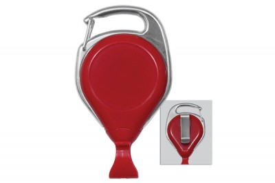 Red Proreel (Carabiner Style) w/ Card Clip & Belt Clip (25/Pkg)