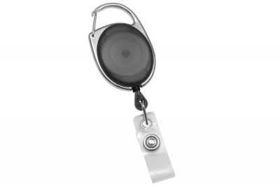 Translucent Black Carabiner Badge Reel w/ Clear Vinyl Strap (25/Pkg)