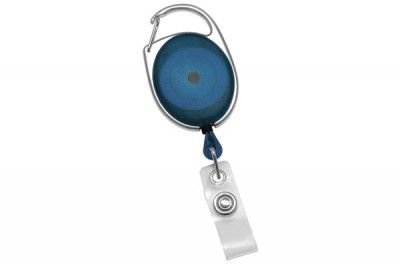 Translucent Blue Carabiner Badge Reel w/ Clear Vinyl Strap (25/Pkg)