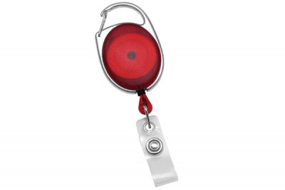 Translucent Red Carabiner Badge Reel w/ Clear Vinyl Strap (25/Pkg)