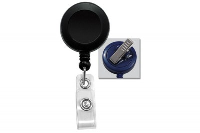 Black Badge Reel w/ Clear Vinyl Strap & Swivel Spring Clip (25/Pkg)